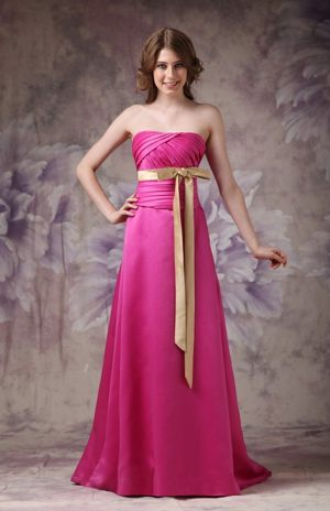 Column Satin Hot Pink Bridesmaid Dress with Bows and Brush Train