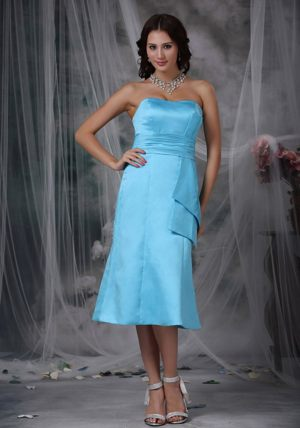 Aqua Blue Tea-length Taffeta Bridesmaid Dresses in Blue Mountains