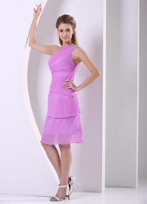 Knee-length One Shoulder Chiffon Beaded Lavender Bridesmaid Dress