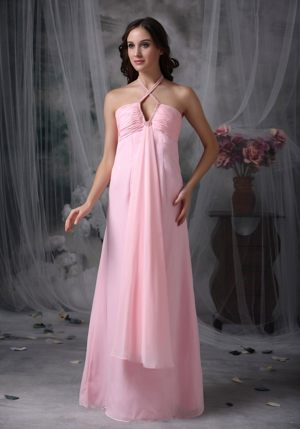 Beading Baby Pink Halter Dresses for Bridemaid in Sunshine Coast
