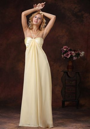 Light Yellow Ruched Straps Hot Bridemaid Dress for Church Wedding