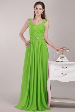 Beads Spring Green Chiffon Bridesmaid Dress with Straps in Perth