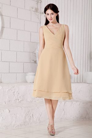 Tea-length V-neck Champagne Chiffon Bridesmaid Dress in Armidale
