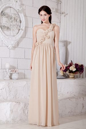One Shoulder Champagne Chiffon Hand Made Flowers Bridesmaid Dress