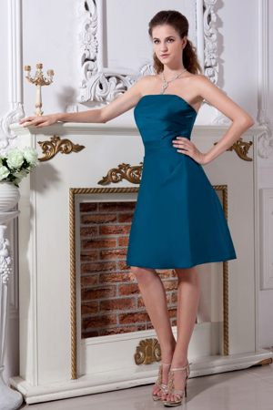 Satin Teal Knee-length A-line Bridesmaid Dress Ruched in Goulburn