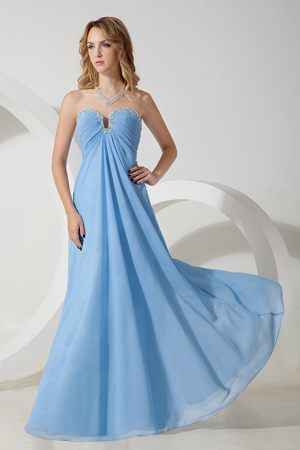 Cheap Sweetheart Baby Blue Empire Chiffon Beaded Bridesmaid Dress