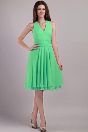 Knee-length Green Chiffon Empire Halter Bridesmaid Dress for 2014
