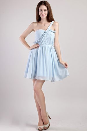 Light Blue Mini-length One Shoulder Plus Size Bridesmaid Dresses