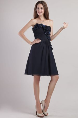 Chiffon Black Mini-length Appliques Bridesmaid Gown in Bathurst