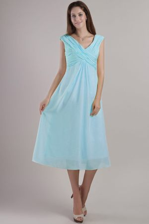 Ankle-length Empire Light Blue V-neck Chiffon Bridesmaid Dresses