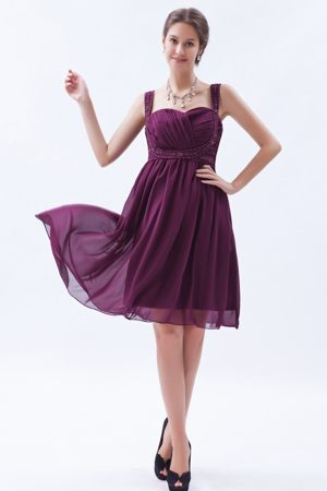Dark Purple Knee-length Empire Straps Bridesmaid Dresses Beaded