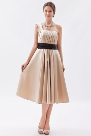 Satin Champagne Tea-length One Shoulder Bridesmaid Dress in Dubbo