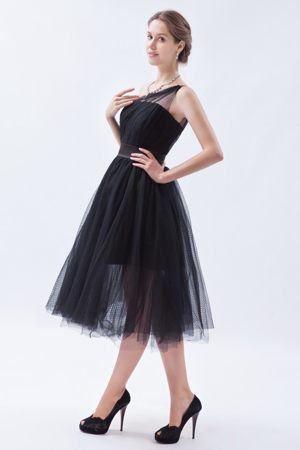One Shoulder Black One Shoulder A-line Tulle Bridesmaid Gown 2013