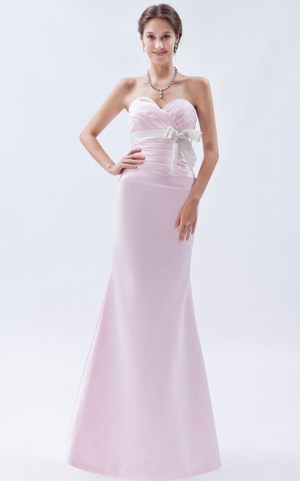 Baby Pink Sweetheart Mermaid Satin Bowknot Dresses for Bridesmaid