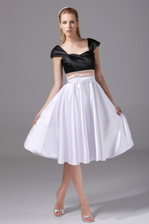 Square Black and White Bridesmaid Dress with Cap Sleeves on Sale