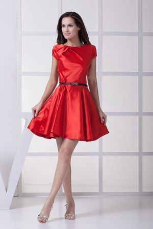 Scoop Red Bow Formal Bridesmaid Dresses with Black Belt for Cheap