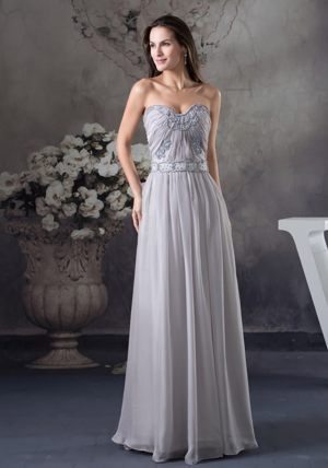 Blue Mountains Sweetheart Embroidery Beaded Gray Bridemaid Dress