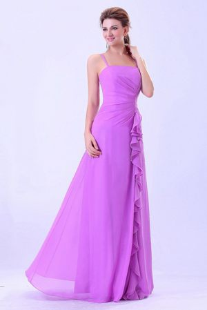 Chiffon Lavender Ruffled Bridemaid Dresses With Spaghetti Straps