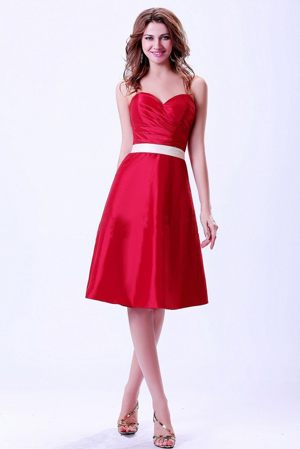 Sweetheart Wine Red Taffeta Sash Bridemaid Dress in Liverpool NSW