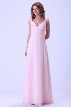 Chiffon Baby Pink V-neck Dress for Bridesmaid in Campbelltown NSW
