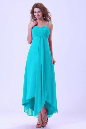 High-low Chiffon Baby Blue Bridesmaid Dress With Spaghetti Straps