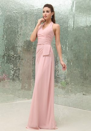 Brush Train Light Pink Chiffon Halter Bridesmaid Dress in Orange