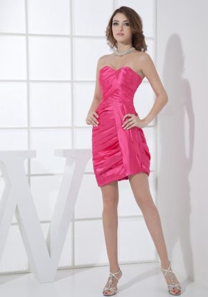 Hot Pink Mini-length Sweetheart Taffeta Bridesmaid Dresses Ruched
