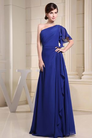 Blue One Shoulder Chiffon Dress For Bridesmaid With Single Sleeve