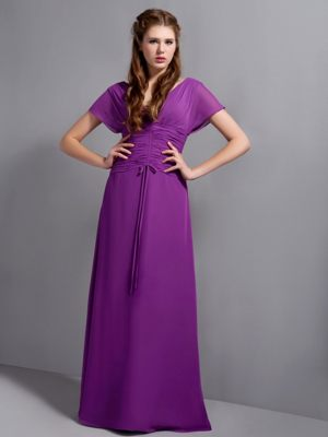 Chiffon Purple V-neck Bridesmaid Dresses with Butterfly Sleeves