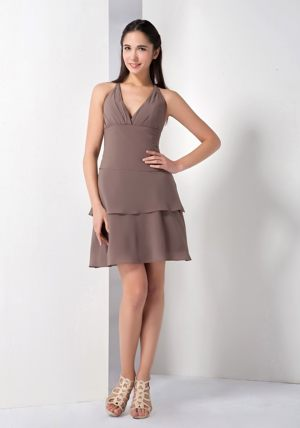 A-line Brown Chiffon Mini-length Halter Bridesmaid Gown in Cairns