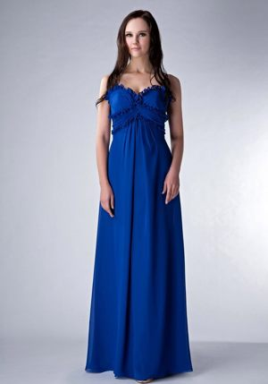Chiffon Straps Royal Blue Empire Wedding Outfits For Bridesmaid