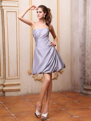 Taffeta Grey Mini-length Strapless Dress for Bridesmaid in Darwin