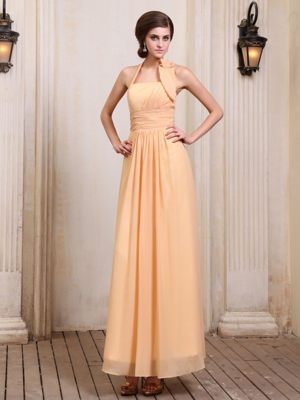 Ankle-length Gold Halter Chiffon Bridesmaid Dress in Geelong VIC