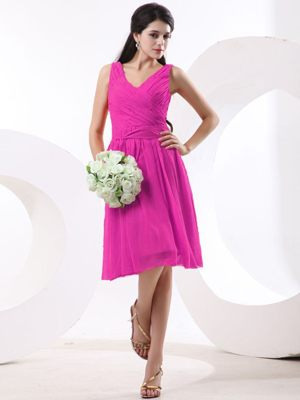 V-neck Knee-length Chiffon Hot Pink Bridesmaid Dresses for Cheap