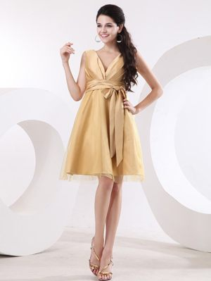 Cairns QLD Tulle and Satin Champagne V-neck Sash Bridemaid Dress