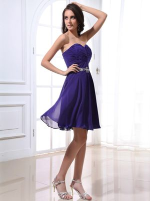 Purple Sweetheart Knee-length Bridemaid Dresses with Beading 2014