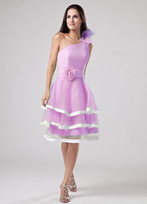 One Shoulder Pink Ruffled Layers Flowers Sashed Bridemaid Dress