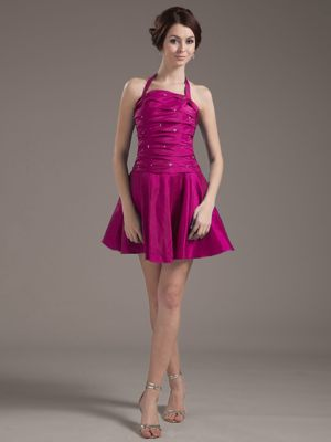Halter Ruched Fuchsia Beading Bridemaid Dress for Summer Wedding