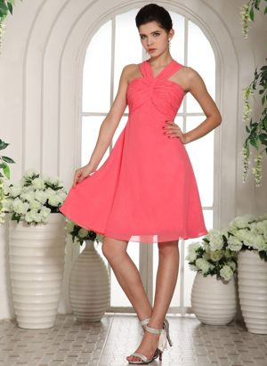 Watermelon V-neck Ruched Bridemaid Dress for Summer Wedding Cheap