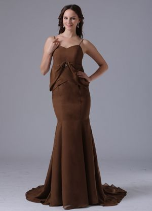 Mermaid Brown Brush Train Bridemaid Dresses with Spaghetti Straps