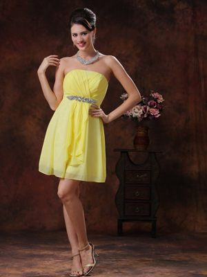 Light Yellow Mini-length Bridemaid Dress With Beading in Morwell