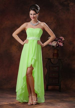 High-low Spring Green Bridemaid Dress for Church Wedding Sashed