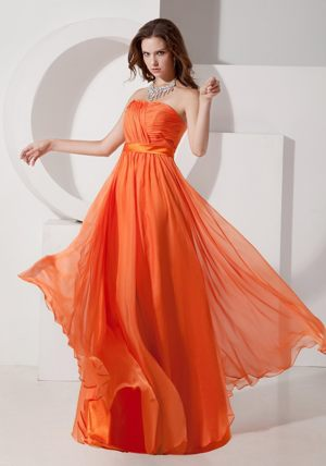 Chiffon Orange Red Ruched Empire Bridemaid Dress in Busselton WA