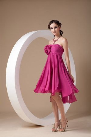 Hot Pink Mini-length Chiffon Hand Made Flowers Bridemaid Dresses