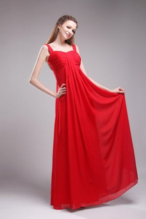 Red Chiffon Empire Bridemaid Dress for Summer Wedding with Straps