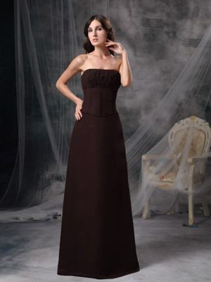 Brown Satin Column Ruched Bridemaid Dress for Church Wedding 2013