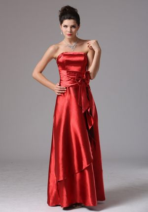 Bowknot Column Wine Red Bridemaid Gown for Summer Wedding on Sale