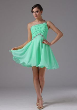 One Shoulder Apple Green Short Ruche Bridemaid Dress with Beading