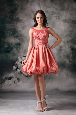 A-line Watermelon Red Mini-length Bridemaid Dresses with Pick-ups