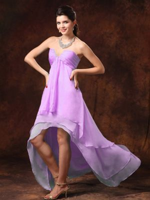 High-low Lavender Beaded Chiffon V-neck Bridemaid Dress for Cheap